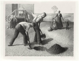 Artwork by Grant Wood, Tree Planting Group, Made of Lithograph