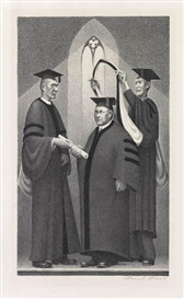 Artwork by Grant Wood, Honorary Degree, Made of Lithograph