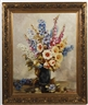 Franz Zallinger, Floral still life with blue and gold flower in dark vase