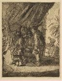 Artwork by James Ensor, ISTON, POUFFAMATUS, CRACOZIE AND TRANSMOUFF, FAMOUS PERSIAN PHYSICIANS EXAMINING THE STOOLS OF KING DARIUS AFTER THE BATTLE OF ARBELA, Made of Etching on heavy cream wove paper