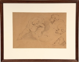 Hyman Bloom, double sided drawing in graphite of wrestlers and grotesque faces