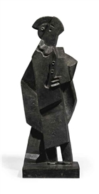 Artwork by Jacques Lipchitz, Arlequin à la clarinette, Made of bronze with black and green patina