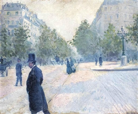 Artwork by Gustave Caillebotte, La Place Saint-Augustin, temps brumeux, Made of oil on canvas