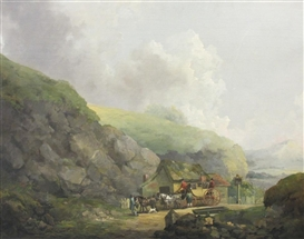 Artwork by Julius Caesar Ibbetson, A Carriage and Figures outside an Inn on a Country Road, Made of oil on canvas