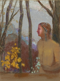 Artwork by Odilon Redon, ÉVOCATION (FEMME À LA MONTAGNE), Made of Pastel on paper mounted on card