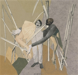 Artwork by Hannah Höch, LOVE IN THE BUSH, Made of Photomontage with collage on paper laid down on card