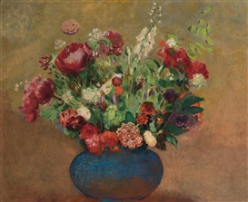 Artwork by Odilon Redon, PAVOTS ET OEILLETS DE POETE DANS UN VASE BLEU, Made of Oil on canvas