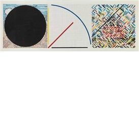 Artwork by Jennifer Bartlett, 3 works: Circle; Line; House, Made of Color screenprints on BFK Rives
