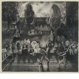 Artwork by George Bellows, Tennis (Tennis Tournament), Made of Lithograph, Chine laid to wove
