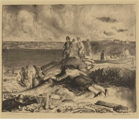 Artwork by George Bellows, Legs of the Sea, Made of Lithograph, cream wove paper