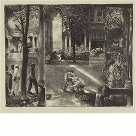 Artwork by George Bellows, Sixteen East Gay Street, Made of Lithograph, cream basingwerk parchment
