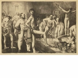 Artwork by George Bellows, Business Men's Bath, Made of Lithograph, cream wove Japan