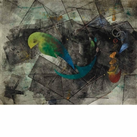 Artwork by Rolph Scarlett, Perched Bird, Made of Color monotype on Japan