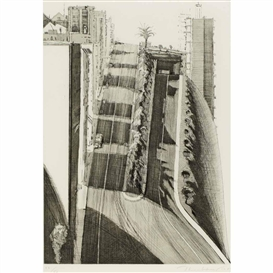 Artwork by Wayne Thiebaud, Neighborhood Ridge, Made of Etching, aquatint, drypoint