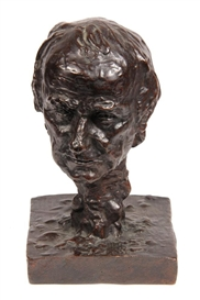 Artwork by Thomas Eakins, Sstudy of William Rush's head, Made of bronze