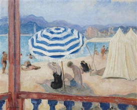 Artwork by Henri Lebasque, Cannes, parasol bleu et tentes, Made of oil on canvas