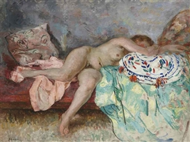 Artwork by Henri Lebasque, Nu au coussin espagnol, Made of oil on canvas