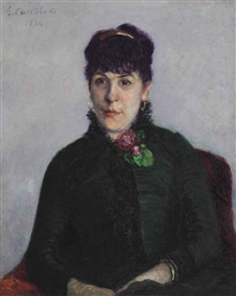 Artwork by Gustave Caillebotte, La femme à la rose, Made of oil on canvas