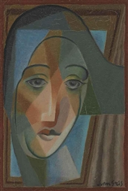 Artwork by Juan Gris, Tête d'arlequin, Made of oil on canvas