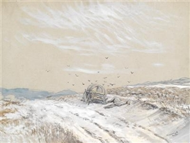 Artwork by László Mednyánszky, A winter landscape with an abandoned covered wagon and a dead horse, Made of watercolor and white bodycolor, over black chalk, on paper