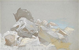 Artwork by László Mednyánszky, Studies of rocks at the seashore, Made of black chalk and watercolor, on blue paper