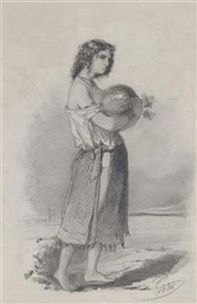 Artwork by Hans Canon, A study of a girl with a watermelon at a lakeshore, Made of pencil and white chalk, on paper