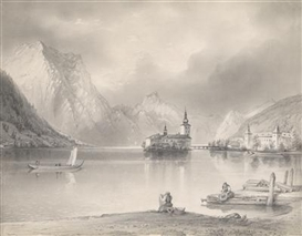 Artwork by Hans Canon, A view of Schloss Orth am Traunsee, Made of pencil, heightened with white, on firm vellum