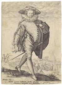 Artwork by Hendrick Goltzius, Company Clerk of the Dutch army, Made of engraving