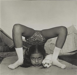 Artwork by Mary Ellen Mark, Contortionist with her puppy, Sweety, Great Raj Kamal Circus, India, Made of Black and white photograph