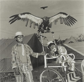 Artwork by Mary Ellen Mark, Veeru and Usman with Moti, the Performing Vulture. Jumbo Circus, India, Made of Black and white photograph