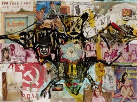 Artwork by Jeffrey Vallance, Bat, Made of Collage and mixed media on paper