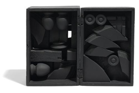 Artwork by Louise Nevelson, Rain Garden Cryptic XLI, Made of wood painted black