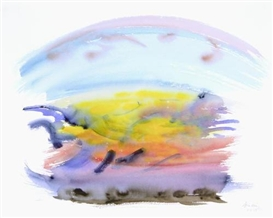 Artwork by Maggi Hambling, Sunrise, Orwell Estuary, Made of watercolour and ink