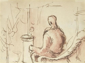 Artwork by Keith Vaughan, Soldier in front of stove, Bulford Camp, Made of wash and red conté