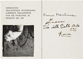 Artwork by Francesca Woodman, Angels, Rome - Postcard invitation for Immagini exhibition, Made of Gelatin silver contact print mounted to a postcard