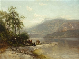 Artwork by Arthur Parton, Hudson River Landscape with Cow, Made of oil on canvas