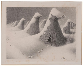 Artwork by Grant Wood, January, Made of Lithograph on paper