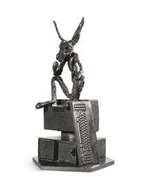 Artwork by Barry Flanagan, THINKER ON COMPUTER, Made of Bronze