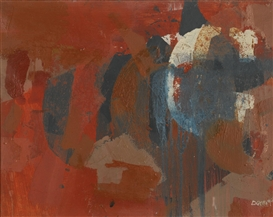 Artwork by Robyn Denny, RED BEAT 4, Made of oil on canvas