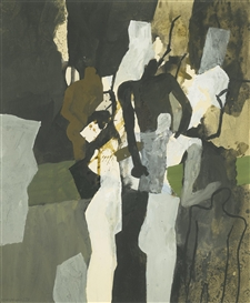 Artwork by Keith Vaughan, STUDY WITH FIGURES, Made of gouache and ink wash
