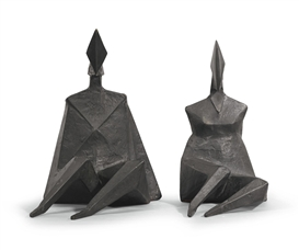 Artwork by Lynn Chadwick, 2 WORKS: MAQUETTE III DIAMOND 1984, Made of bronze