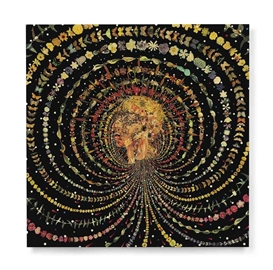 Artwork by Fred Tomaselli, Breathing Head, Made of leaves, printed paper collage, acrylic, gouache and resin on panel