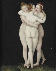 Artwork by Lucas Cranach the Elder, The Three Graces, Made of oil on copper