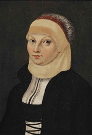 "Lucas Cranach the Elder, Portrait of Katharina von Bora (1499-1552), ""Die Lutherin"", Martin Luther's wife, half-length, in a black and white dress and a head garment"