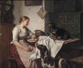 Artwork by Adolf Eberle, Feeding the dogs, Made of oil on panel