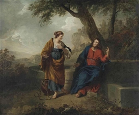 Artwork by Benjamin West, Christ and the Samaritan Woman, Made of oil on canvas