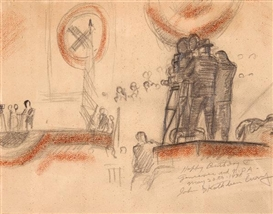 Artwork by John Steuart Curry, Sketch for Progressive Party Rally, Made of Pencil and conté crayon on paper