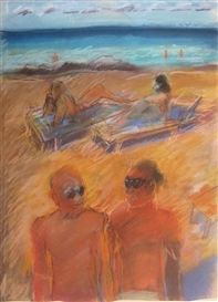 Artwork by Carlos Almaraz, Untitled (beach), Made of Pastel on paper