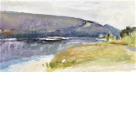 Artwork by Wolf Kahn, Looking Downstream at Brattleboro #52, Made of Oil on canvas