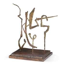 Artwork by Herbert Ferber, Calligraph Ending in a Question Mark, Made of Brazed copper